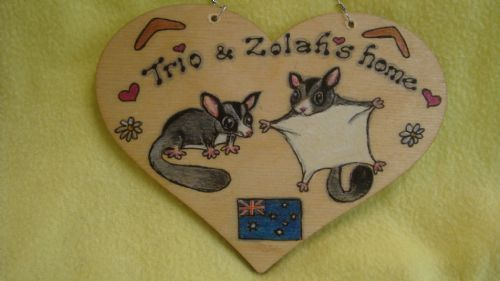 Heart Shape Wooden Sugar Glider Run Cage Garden Aviary Cage Sign Personalised up to 2 characters